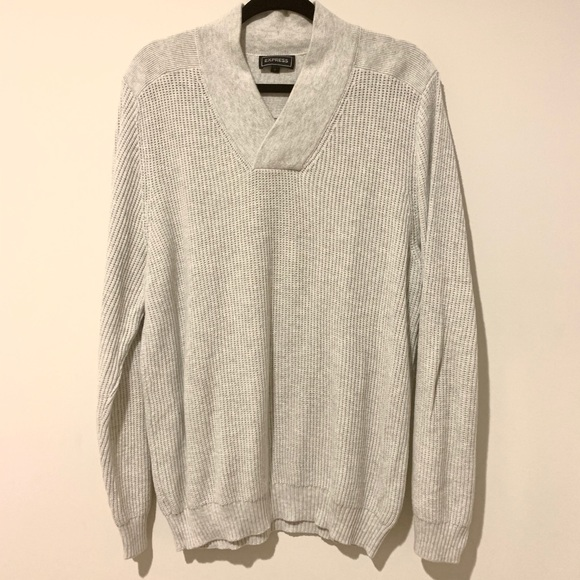 Express Other - EXPRESS V-neck Knit Sweater in Light Gray